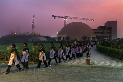 A class of schoolgirls leaves the Earth Exploration Hall at Science City, Kolkata, India.