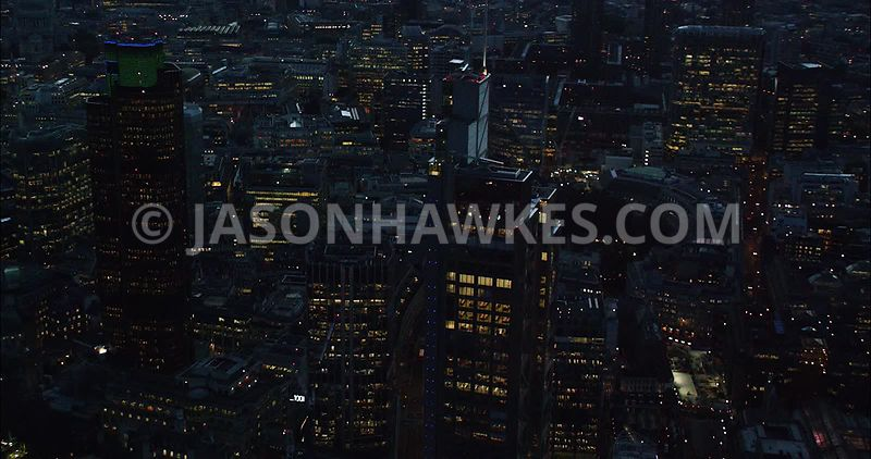 London Aerial Footage of Heron Tower at night