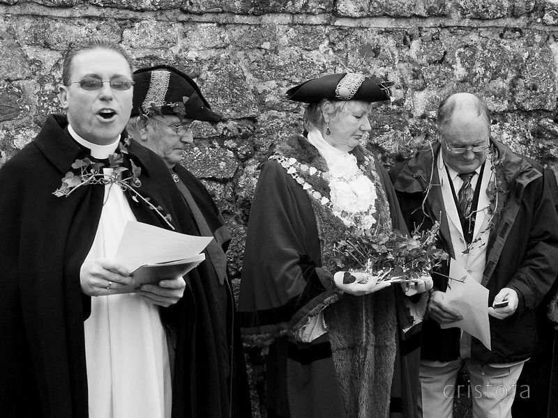 attention distracted during the blessing of the silver ball at the St Ives Feast