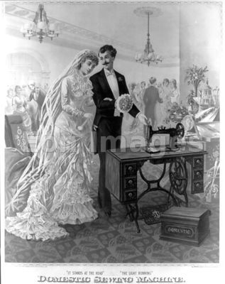 Ad for a 19th-century sewing machine featuring bride and groom