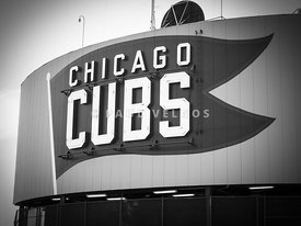 Chicago Cubs Wrigley Field Sign Black and White Picture