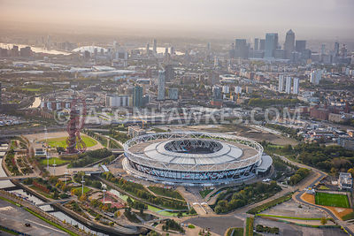 Aerial view of London, Stratford with Olympic Stadium towards Canary Wharf.