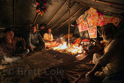 Babas in a tent in Haridwar, India