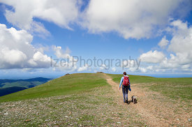 A hiker and their dog walking towards the Summit of Grasmoor on a sunny day in the English Lake District, UK.