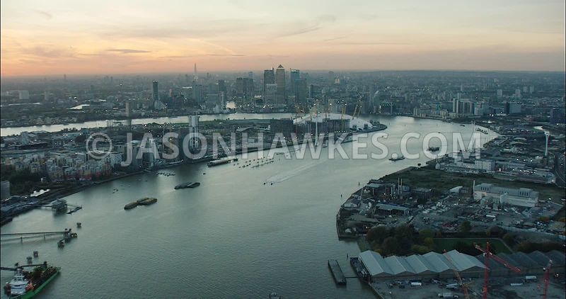 London Aerial Footage of River Thames and Docklands.