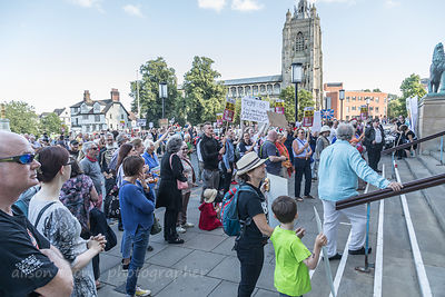 Protest in Norwich, Norfolk, UK during Donald Trump's visit