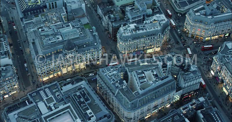 London Aerial Footage of Regent Street and Oxford Street.