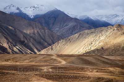 Military road to nowhere in the Himalayas near Nimmu, Ladakh, India