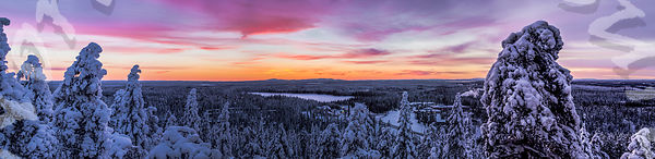 Blue Moment Fading Out Over Ruka Valley in Panorama