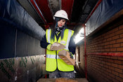 Dargavel Village South, Bishopton, Scotland.27.2.15.Taylor Wimpey bricklaying apprentice Karmen Stewart from Paisley..Also pi...