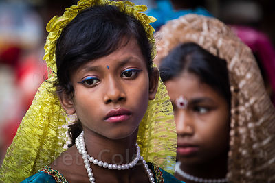 Girls in a parade during the Durga Puja festival, Newmarket, Taltala, Kolkata, India
