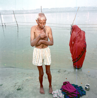A pilgrim after his auspicious dip in the Ganges