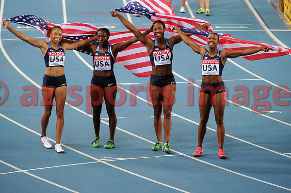 The United States women's relay team won the gold medal at the world championships.