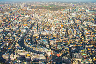 Aerial view of London, Regent Street from Piccadilly Circus  towards Oxford Circus with Soho and Mayfair.