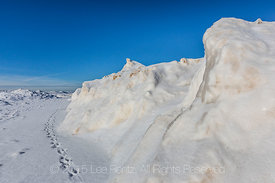 Ridges of Ice Built up During Winter Storms in Rosy Mound Natural Area along Lake Michigan