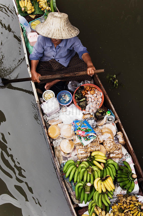 Trader at Floating Market of Damnoen Saduak near Bangkok, Thailand