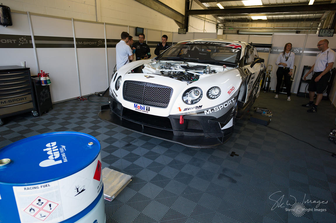 Preparing to race. Bentley Continental GT3 in the M-Sport garage, pre-race, at the Silverstone 500 - the third round of the B...