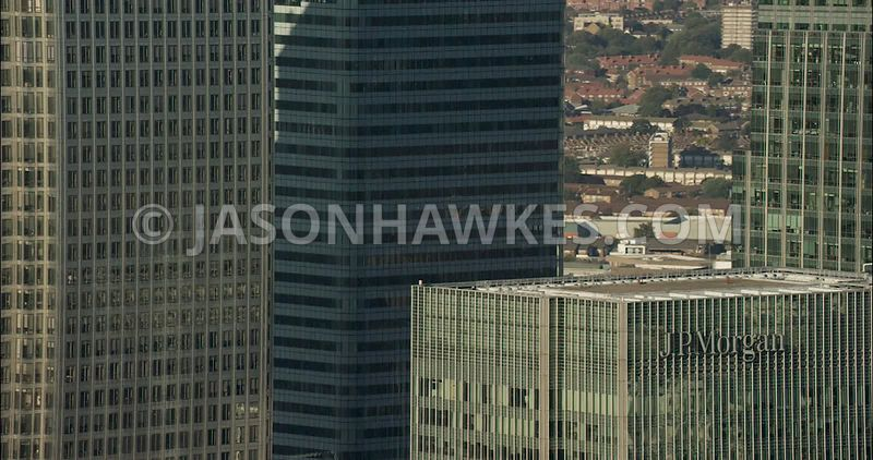 London Aerial Footage of JP Morgan Tower, Canary Wharf