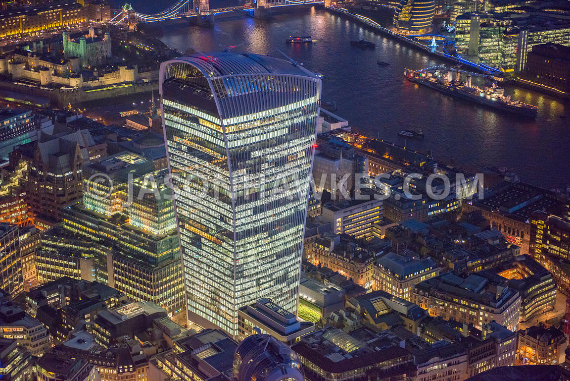 Aerial night view of 20 Fenchurch St, City of London, London