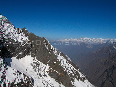 NEPAL Upper Rolwaling Valley -- 16 Apr 2005 -- An aerial photograph of an unidentified group of peaks above the Trakarding Gl...