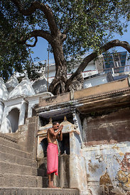 Hindu man praying under a large tree along the Ganges River, Assi Ghat, Varanasi, India