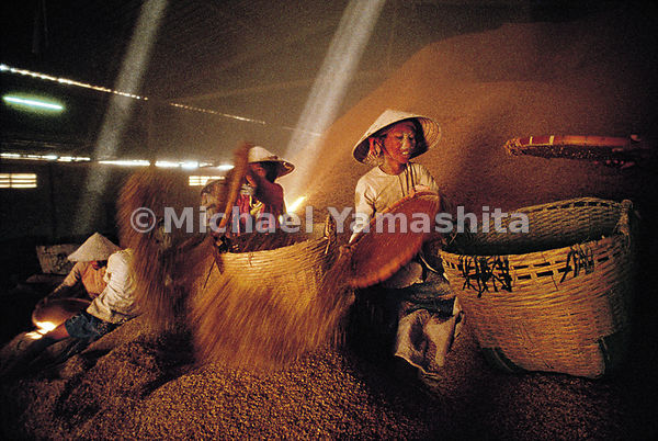 "At a rice mill in Soc Trang, the heart of Vietnam's ""rice basket,"" women collect bran to sell as animal feed. The factory all..."