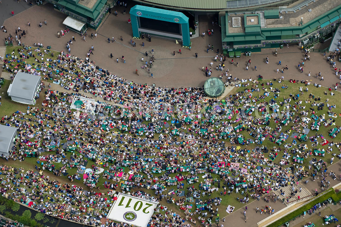 Aerial view of people on Henman Hill, Wimbledon