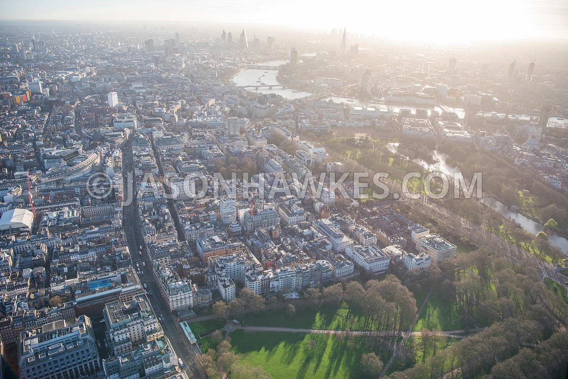 Aerial view of London, St James's Square and St James's Park.