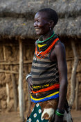 Karamojong woman in the village, northern Uganda
