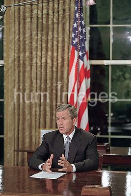 President George W. Bush delivers his Address to the Nation Tuesday, Sept. 11, 2001, from the Oval Office.