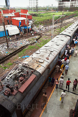 Trains pull into Bandra Railway Station, Mumbai, India.