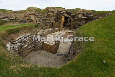 Skara Brae neolithic farming village, Bay of Skaill, West Mainland, Orkney Isles, United Kingdom