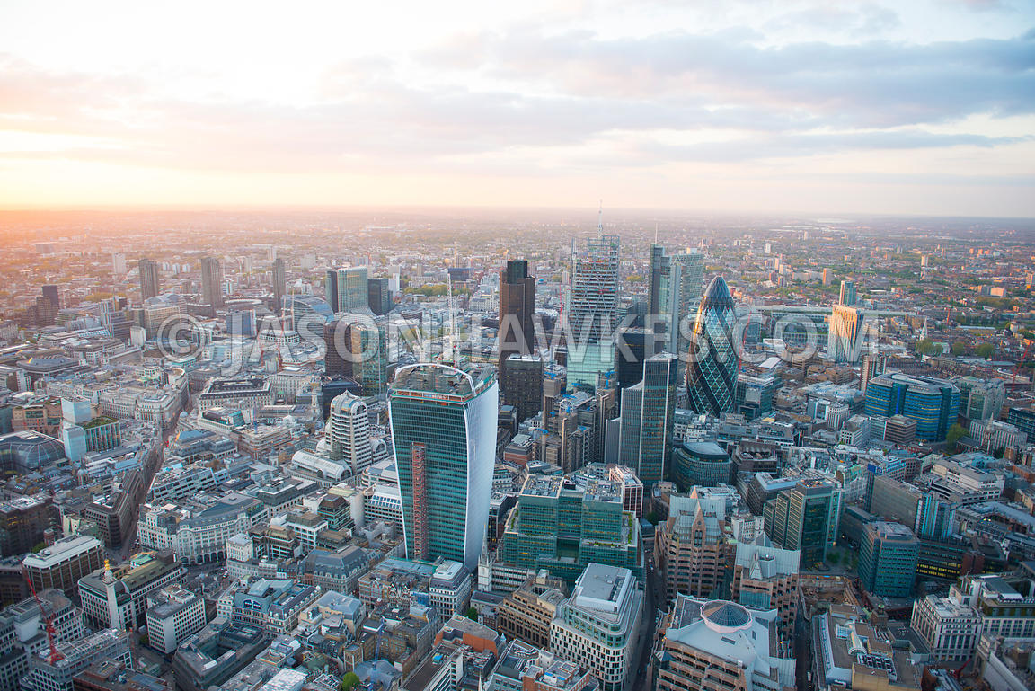 Aerial view of City of London, London