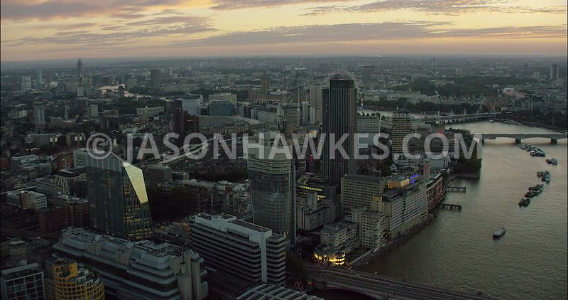 London Aerial Footage of Blackfriars and Southbank.