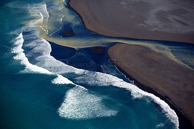 Aerial view of coastline, South West Iceland, June 2014.