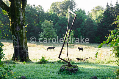 Sculpture by Michael Calnan on the edge of the garden, with donkeys in a sunny field beyond.