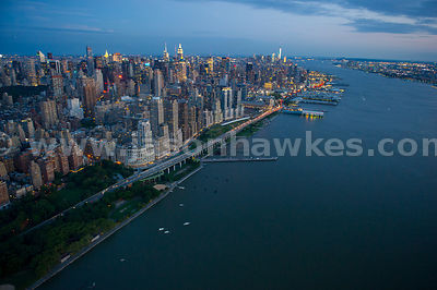 Night aerial view of the Hudson River and Upper West Side, looking towards Midtown, Manhattan, New York City