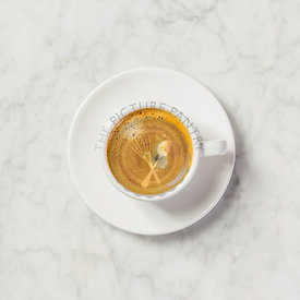 Coffee on white marble background