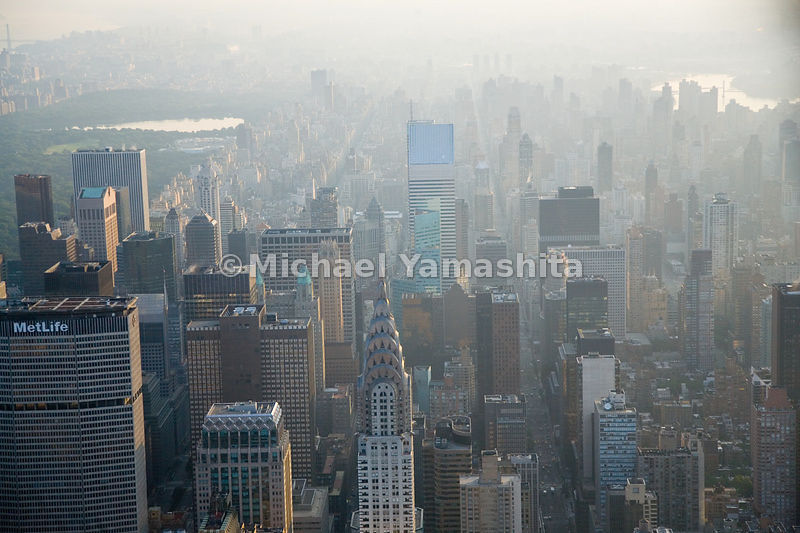 Midtown Manhattan has one of the highest concentrations of skyscrapers in the world.  New York City.
