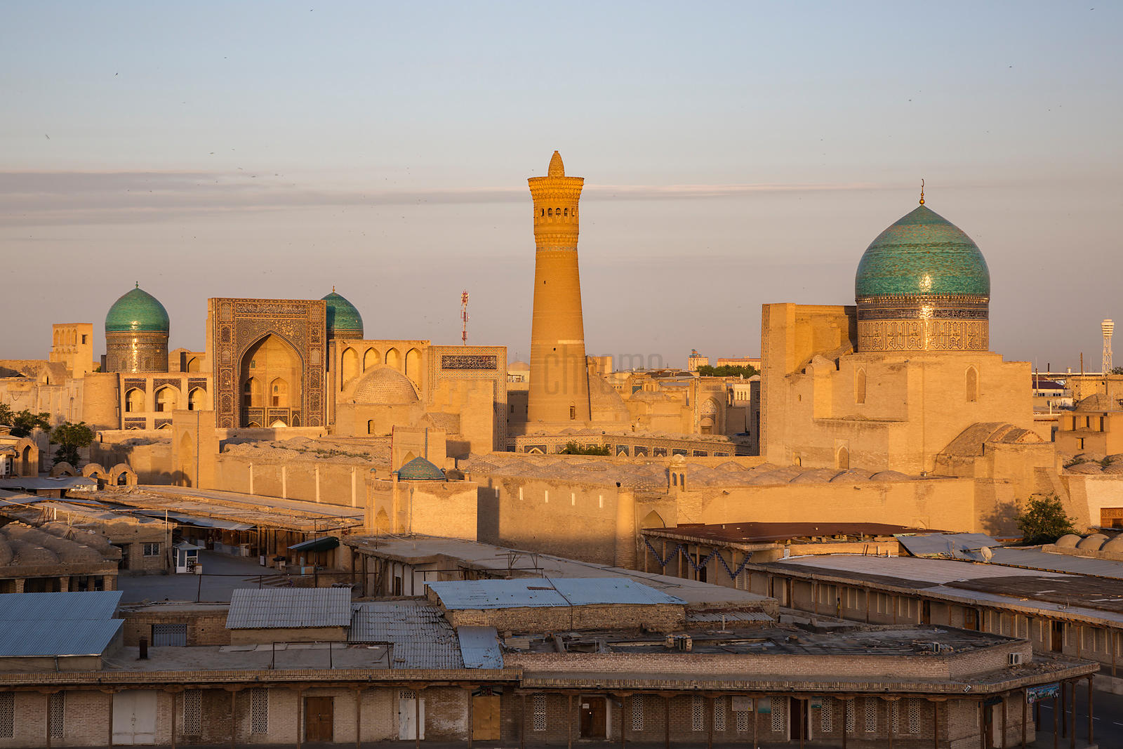 Skyline View of the Old City of Bukhara at Sunset