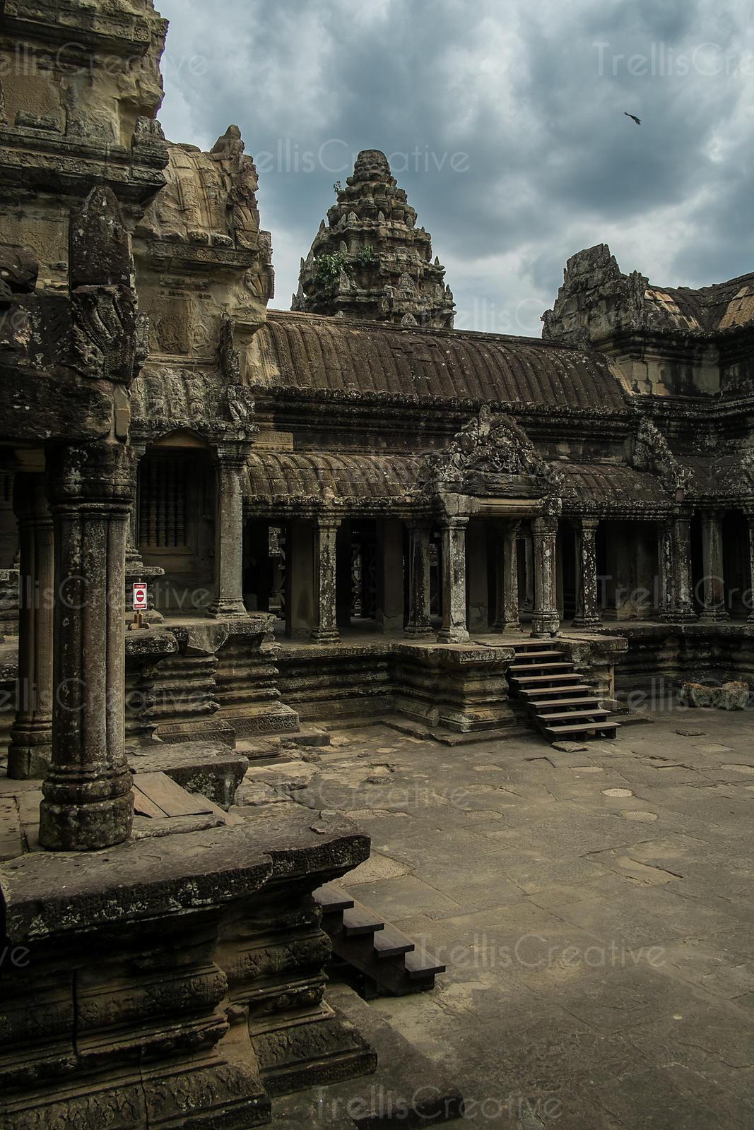 Image  Old Temple At Angkor Wat  Cambodia Under Dramatic
