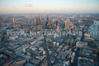 Aerial view of Bank and the City at dusk, London
