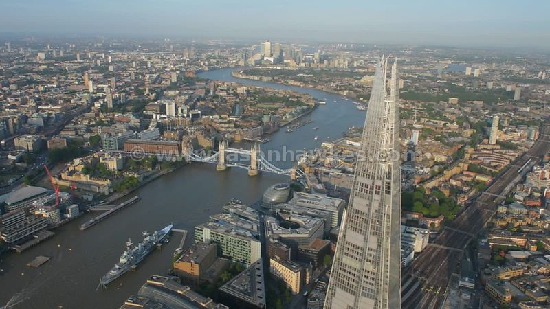 Aerial footage of the Shard, with the River Thames and Tower Bridge in the background
