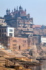 Unidentified buildings on the Ganges River, Varanasi, India.