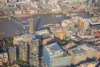 Aerial view of London, Millennium Bridge and Globe Theatre.