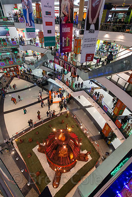 Interior of South City Mall decorated for the Hindu Durga Puja festival, Jadavpur, Kolkata, India. It's the largest mall in E...