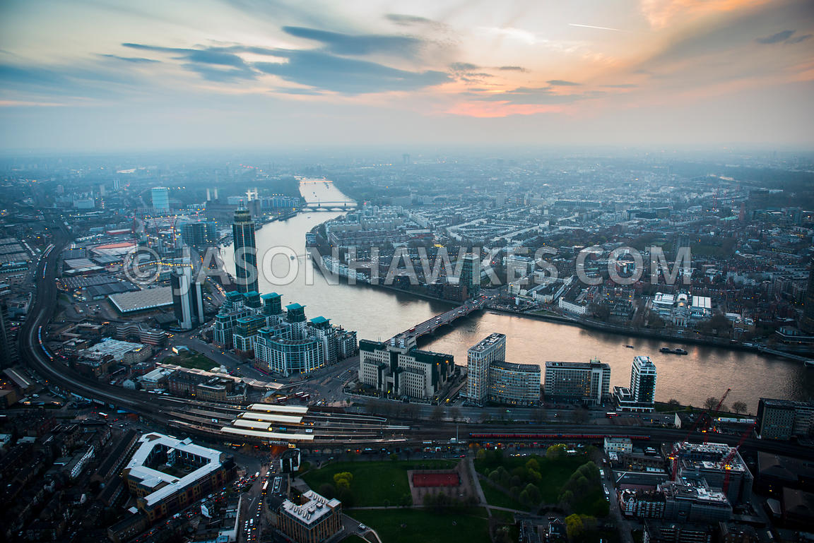 Aerial view of Vauxhall at dusk, London