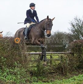 Charlotte Knight jumping near the new Jubilee Covert - Cottesmore Hunt at Deane Bank Farm 4/12/12