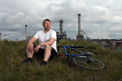 UK - Scunthorpe - Jamie Beale, 37 director of Cycle Song an opera about Albert 'Lal' White a champion cyclist