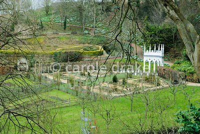 View from garden entrance down over the geometric kitchen garden with the Exedra at its head. Painswick Rococo Garden, Painsw...